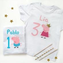 Camiseta cumpleaños  Peppa / George Pig