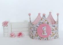 Corona cumpleaños Florecitas rosa-mostaza